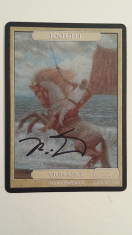Limited Edition Knight Token for MTG (by Marc Fishman) Signed Black