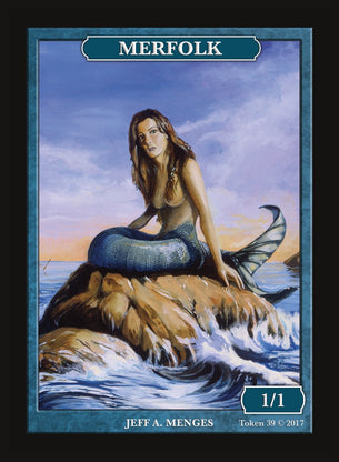 Limited Edition Merfolk 1/1 Token for MTG (by Jeff A. Menges)