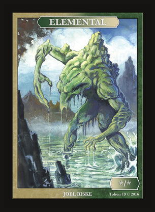 Limited Edition Green White Elemental Token for MTG (by Joel Biske)