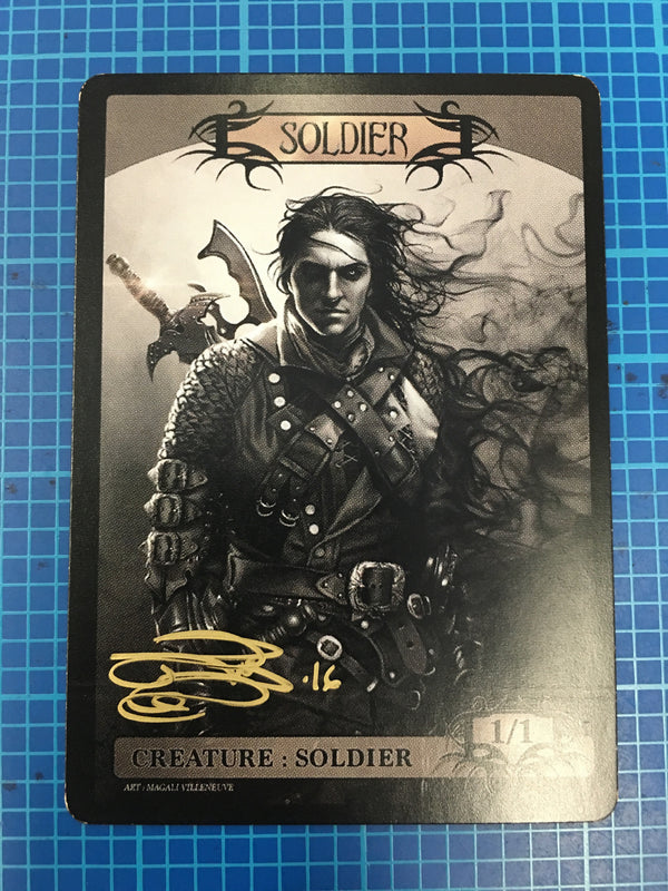 Signed Soldier Token for MTG (Magali Villeneuve) Token Magali Villeneuve - Cardamajigs
