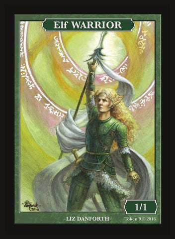 Limited Edition Elf Warrior Token for MTG (by Liz Danforth)