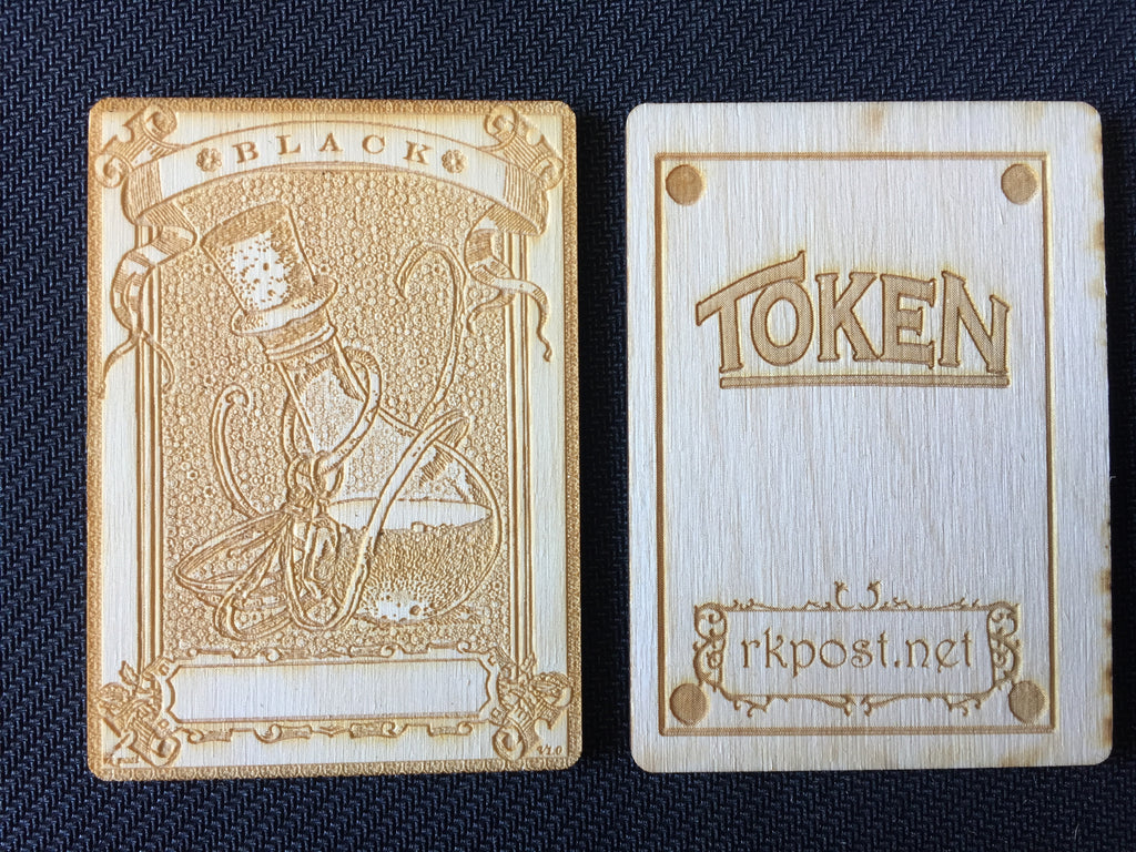Mana Black 1 Wood Token (RK Post)