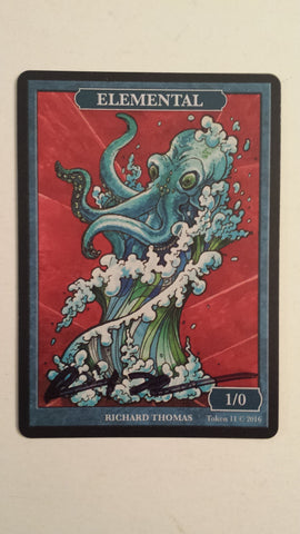 Limited Edition Blue Elemental Token for MTG (by Richard Thomas) Signed Black