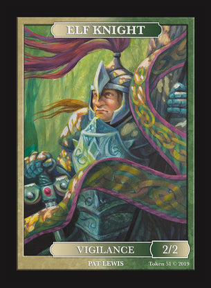 Limited Edition Elf Knight Token for MTG (by Pat Lewis)