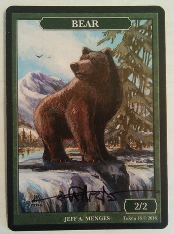Limited Edition Bear Token for MTG (by Jeff A. Menges) Signed by the Artist
