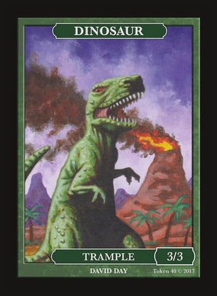 Limited Edition Dinosaur 3/3 Token for MTG (by David Day)