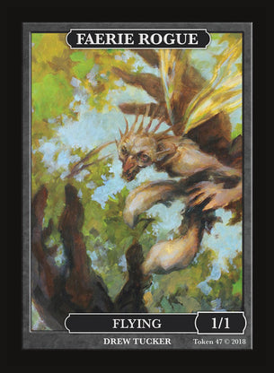 Limited Edition Faerie Rogue 1 1/1 Token for MTG (by Drew Tucker)
