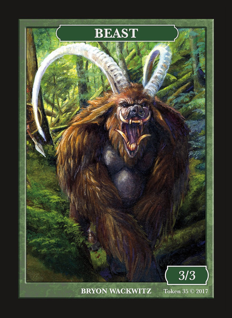 Limited Edition Beast 3/3 Token for MTG (by Bryon Wackwitz)