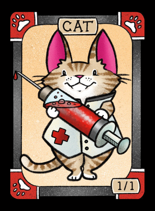 4x Cat (Nurse) Tokens for MTG (LAN)