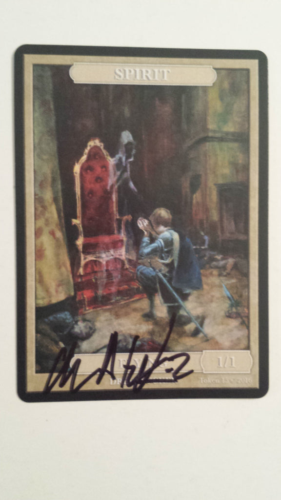 Limited Edition Spirit Token for MTG (by Drew Tucker) Signed Black