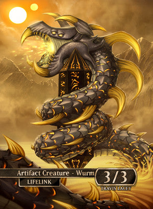 Lifelink Wurm (Wurmcoil Engine) Token for MTG (RES)