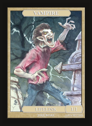 Limited Edition Vampire Lifelink 1/1 Token for MTG (by Joel Biske)