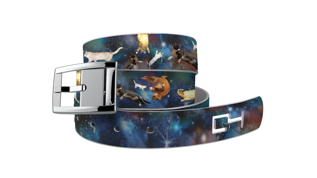 C4 Classic Space Cats Graphic Belt & Silver Chrome Buckle