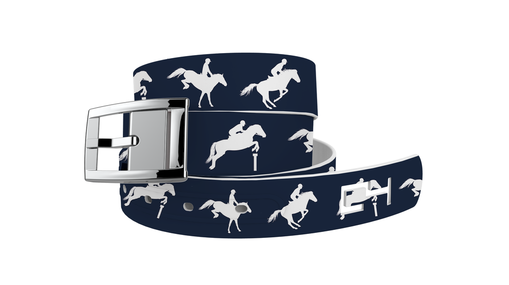 C4 Classic Navy Jump Graphic Belt & Silver Chrome Buckle