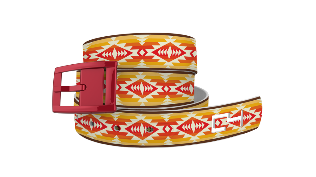 C4 Classic Tribal Graphic Belt & Red Chrome Buckle