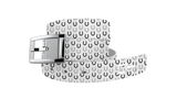C4 Classic White Horseshoes Graphic Belt & Silver Chrome Buckle