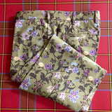 The Madison Flat-Front Trouser - in Harrison Floral / Thyme