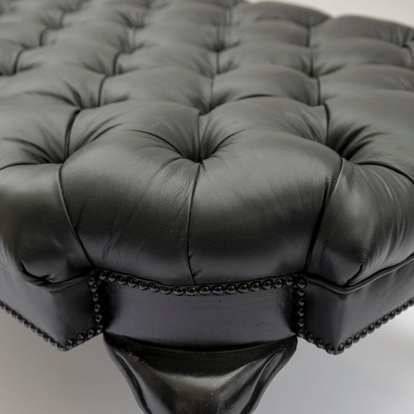 Fife Cocktail Ottoman in Black Leather