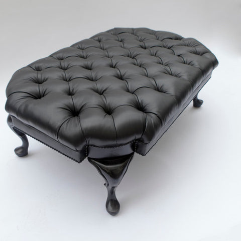 The Fife Cocktail Ottoman - shown in Black Leather - FLOOR SAMPLE