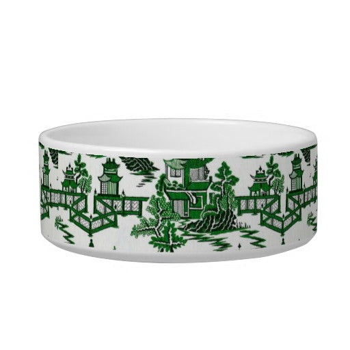 Small Chinoiserie Toile Dog Bowl