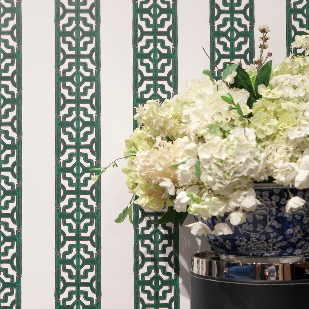 Chinoiserie Stripe - in Emerald Green