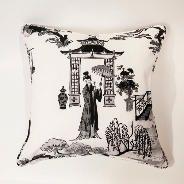 Cordelia Park Toile Pillow - in Charcoal