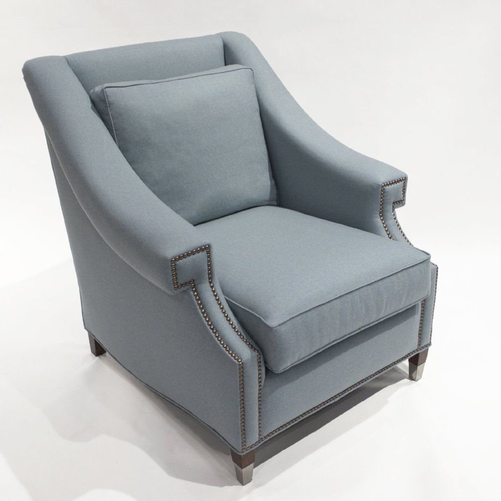 The St. James Armchair - shown in Heather Wool Twill/Sky - SAMPLE SALE
