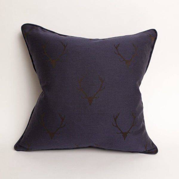 Stag's Leap Damask Pillow - in Midnight