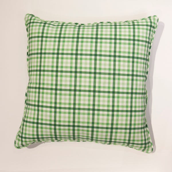 York Check Pillow in Key Lime Green