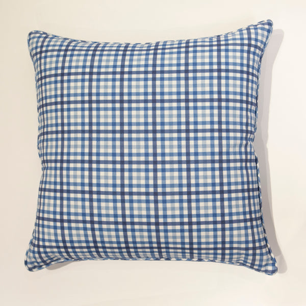 York Check Pillow in Lake District Blue