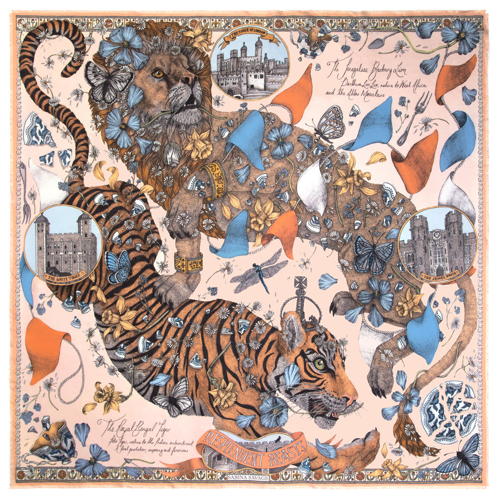 The Lion and Tiger's Tea Party - Large Silk