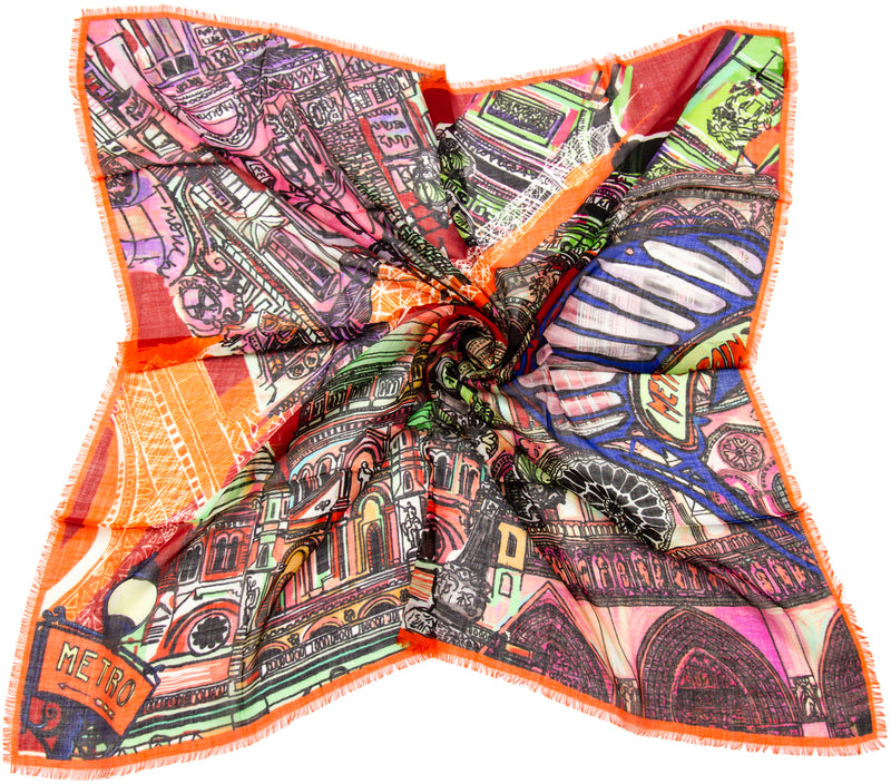 Paris wool & silk scarf