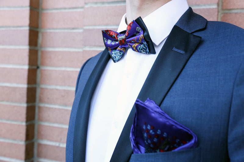 Mith Blue Silk and Leather Bow Tie