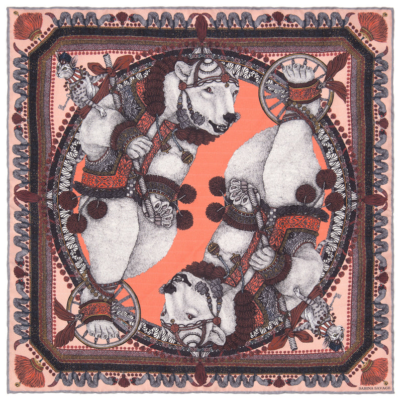 The Balancing Bears - Coral - Silk