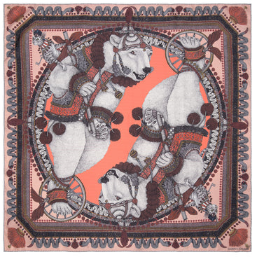 The Balancing Bears-Coral Neckerchief/Pocket Square