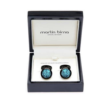 Atlantic Salmon Leather Cufflinks Black-Tone ▪ Blue/Blue Metallic