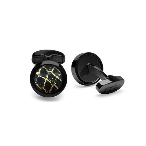 Atlantic Salmon Leather Cufflinks Black-Tone ▪ Black/Gold Metallic