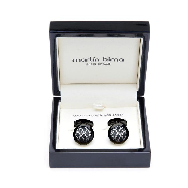Atlantic Salmon Leather Cufflinks Black-Tone ▪ Black/Silver Metallic
