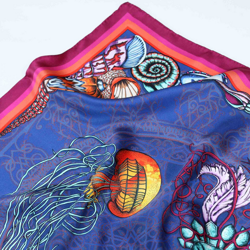 Dancing Jellyfish Silk Scarf - Blue