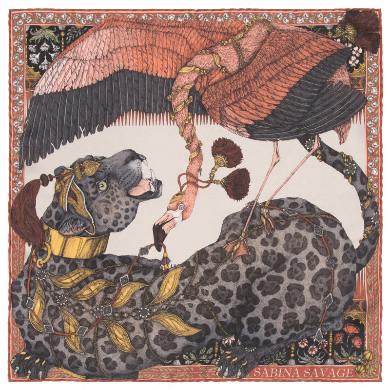 The Panther and Flamingo - Silk Scarf 90 cm x 90 cm