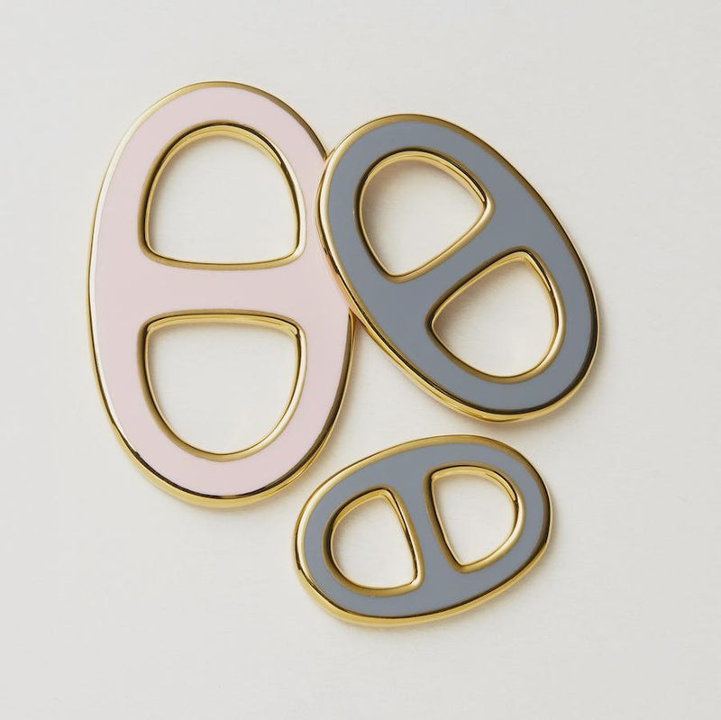 Reversible Scarf Ring - Gold/Grey/Pink