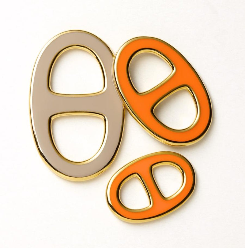 Reversible Scarf Ring - Gold/Orange/Taupe