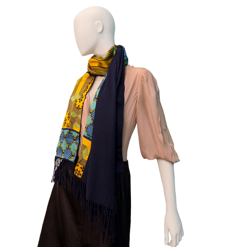 Forme Jaune-Bleu Long Cashmere Backed Stole