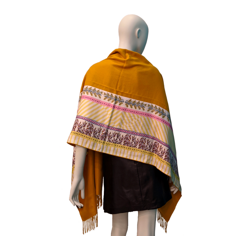 Yellow Long Cashmere Backed Stole