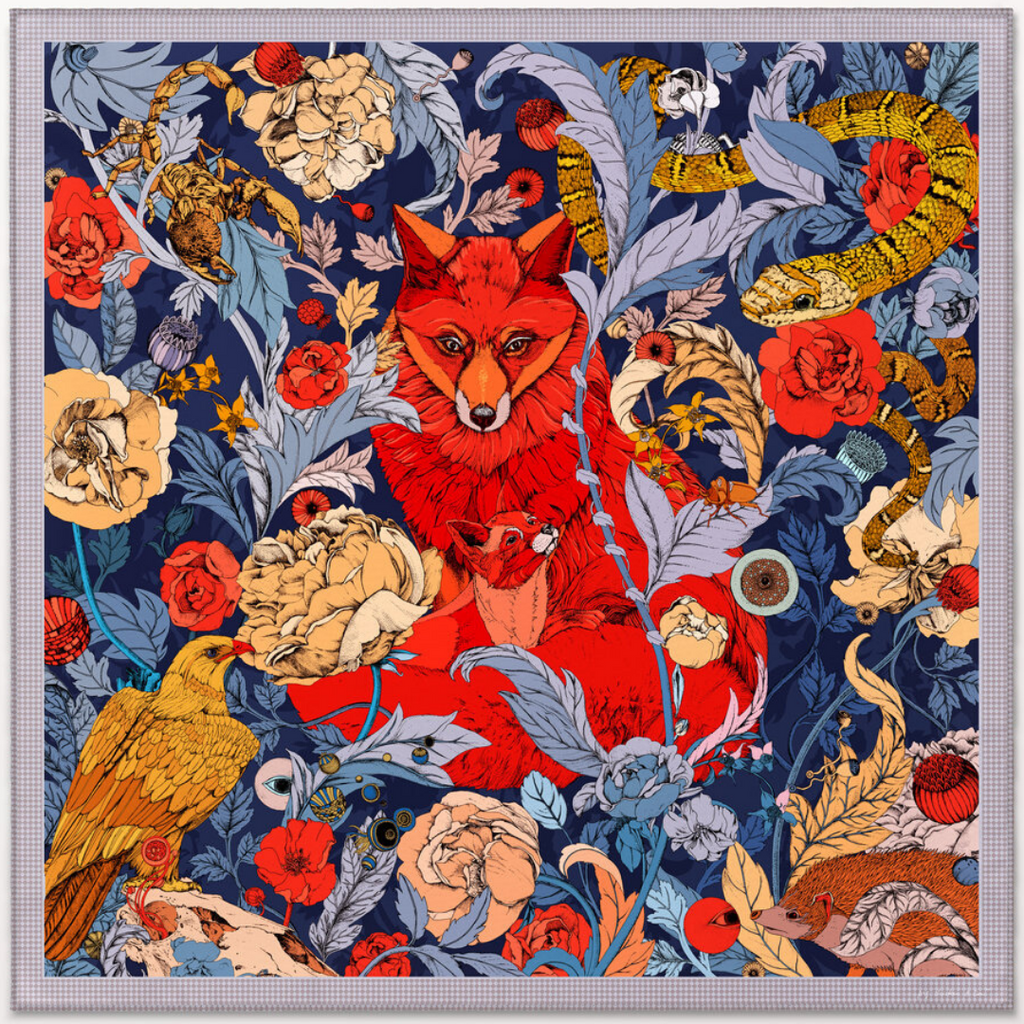 The Foxes Navy Cashmere Silk Scarf