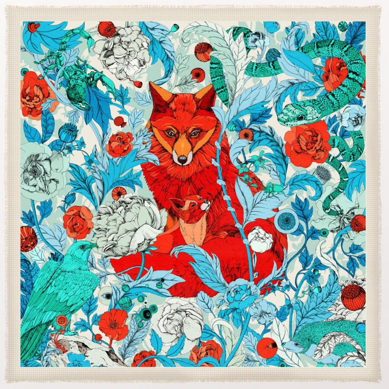 The Foxes Teal Cashmere Silk Scarf