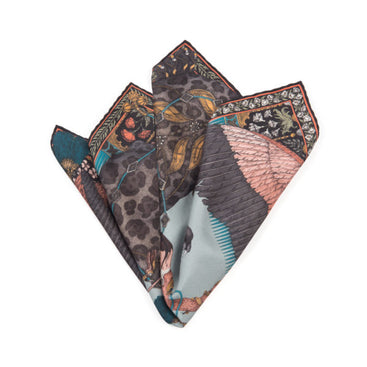 The Panther and Flamingo Lychee Neckerchief/Pocket Square
