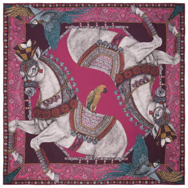 The Ponies and Parrots Magenta - Silk