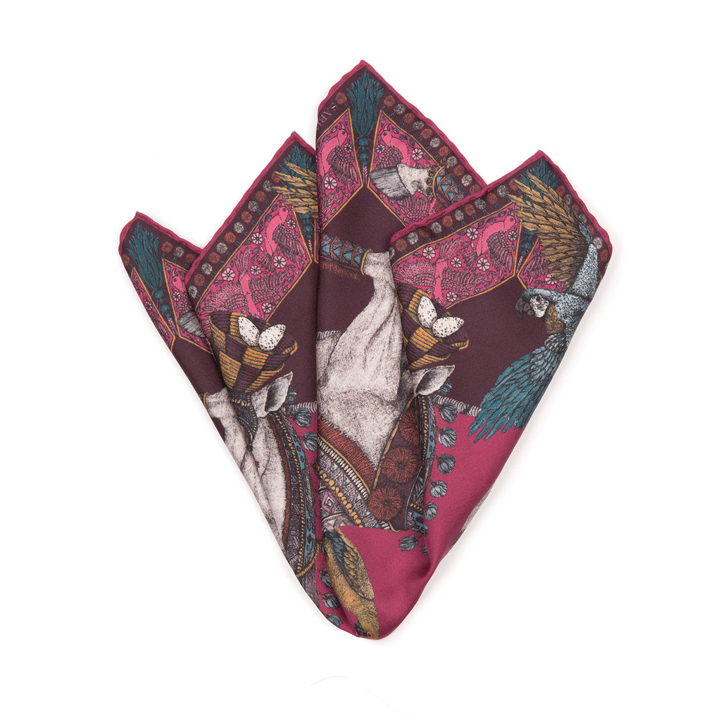 The Ponies and Parrots Magenta Neckerchief/Pocket Square