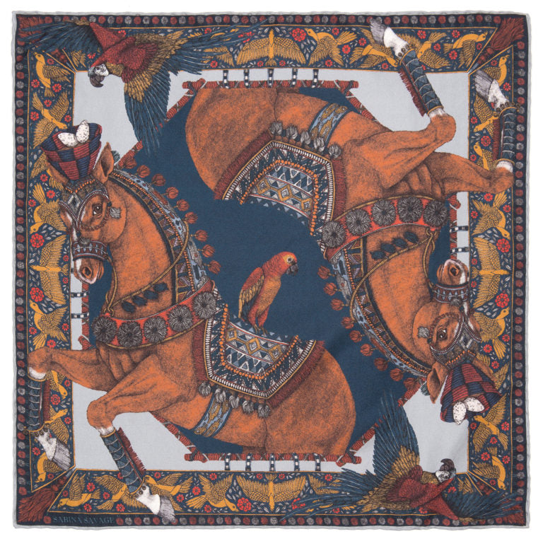 The Ponies and Parrots Navy/Chestnut 90 cm x 90 cm